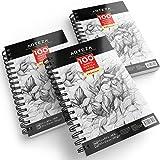 ARTEZA Skizzenbuch | 14 cm x 21,6 cm | 3 Stück mit Jeweils 100 Seiten | Strapazierfähiges, Säurefreies, Weißes Zeichenpapier (100 g/m²) | Ideal für Buntstifte, Bleistifte, Pastellkreide