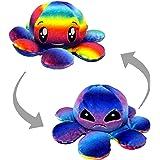 Desire Deluxe Omkeerbare Octopus pluche speelgoed - super zachte Flip Mood gevulde pluche, boos gezicht en gelukkig gezicht -
