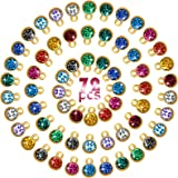 72 Pieces Crystal Birthstone Charms DIY Beads Pendant with Rings Handmade Round Crystal Charm for Jewelry Necklace Bracelet E