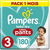 Pampers - Baby Dry Pants - Couches-culottes Taille 3 (6-11 kg) - Pack 1 Mois (x180 culottes)