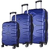 SHAIK SERIE RAZZER SH002 3-tlg. DESIGN PMI Hartschalen Kofferset, Trolley, Koffer, Reisekoffer, 4 Doppelrollen, 25% mehr Volumen durch Dehnfalte (Dunkelblau, Set)
