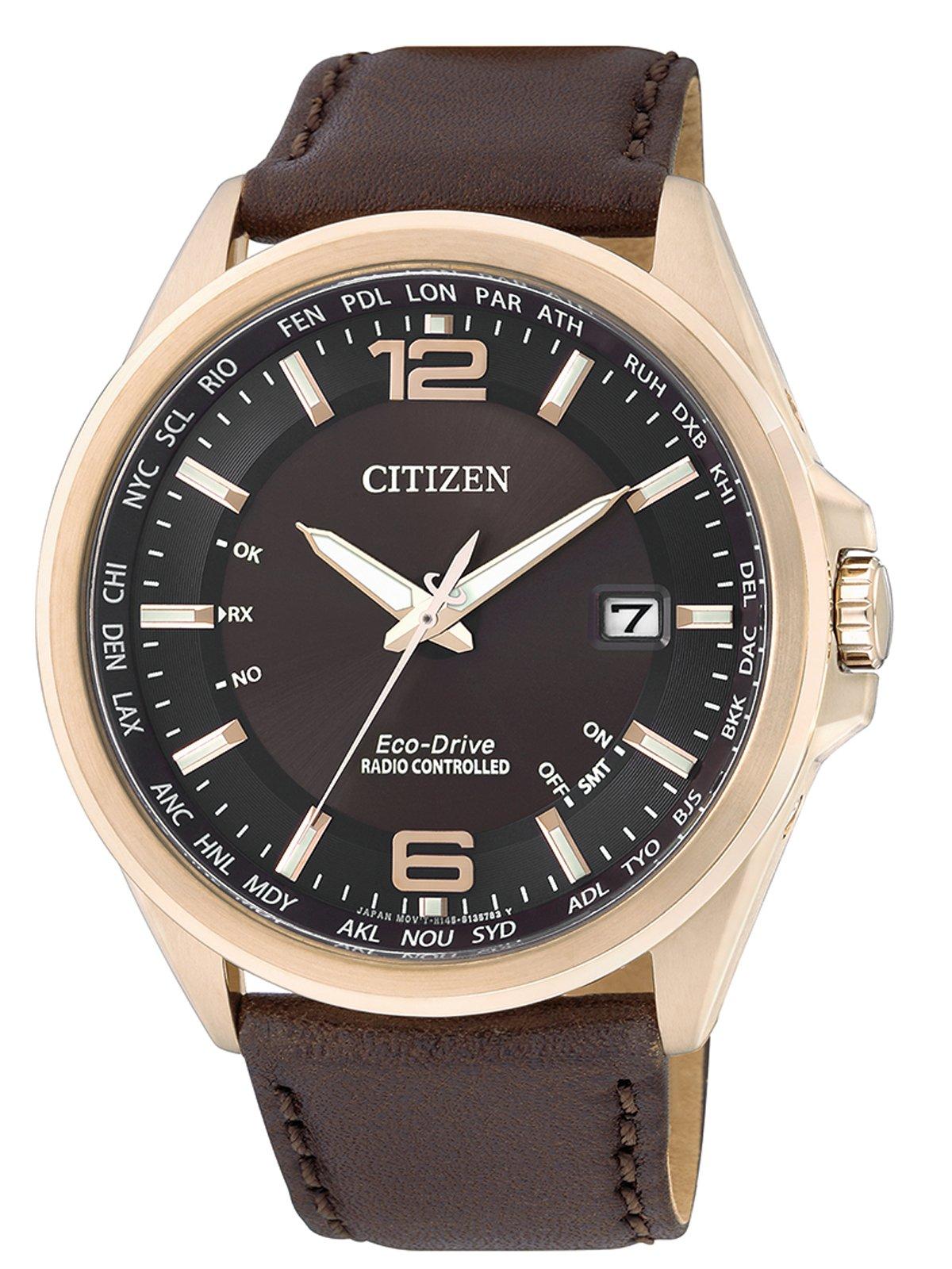 Citizen Funkuhren CB0017-03W – Reloj para hombres, correa de cuero color marrón