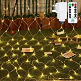 Ollny Outdoor Net Lights Garden Mesh Lights,200 Led 3m x 2m Fairy Light Net Lights Mains Powered Warm White Net Lights with R