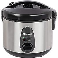Cuiseur de riz ONVAYA® 1,2 litre en acier inoxydable | avec insert pour cuiseur vapeur | double couvercle fonction de…