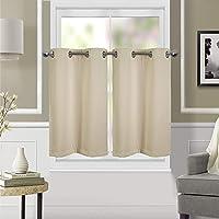 Dreamskull Lot de 2 rideaux courts opaques avec œillets - Style vintage - Hauteur : 90 cm