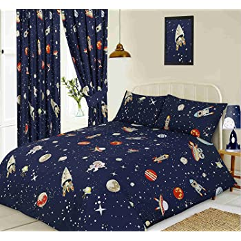 Kidz Club   Rockets Space Ship Planets  Duvet Sets  Single Bed
