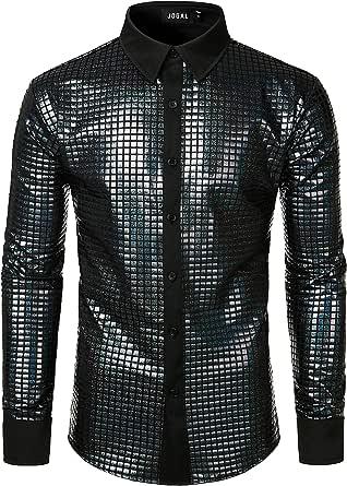 JOGAL Men's Dress Shirt Sequins Button Down Long Sleeve Shirts 70s Disco Party Costume