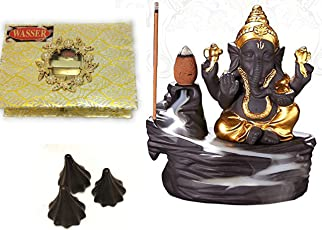 Wasser India Crafted Ganpati Special Gift Lord Ganesha Smoke backflow with Chocolate Modak,Cone Incense Holder Decorative Piece with 10 nos Free Smoke Flow Scented Cone Incense