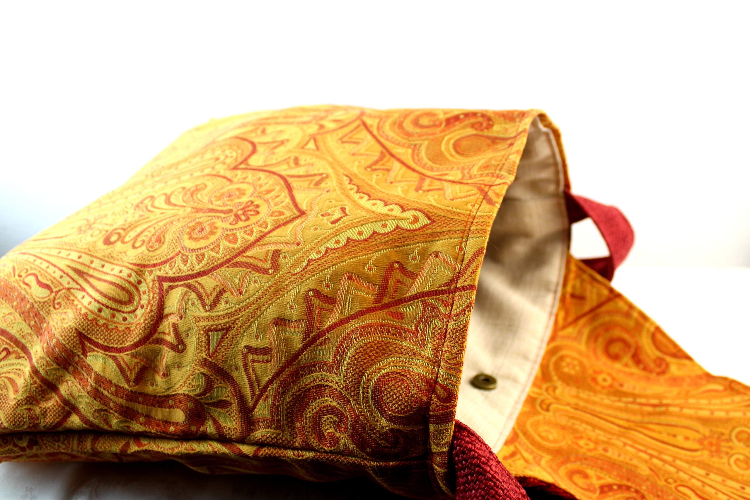 Shoulder bag in damask fabric - orange tapestry - made in italy sartorial bag - handmade-bags