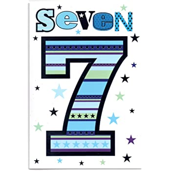 Childrens Birthday Card For Seven 7 Year Old Boy