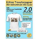 TransOurDream Echte Inkjet/Laser T-Shirt Transferpapier Transferfolie Bügelfolie,A4X10 Blatt,für Tintenstrahldrucker und Lase