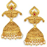 Spargz Latkan Pearl Floral Gold Plated Ruby Jhumki Earring For Women