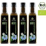 Kräuterland Bio Schwarzkümmelöl, Bio-zertifiziert, 4x 250ml, gefiltert, kaltgepresst, ägyptisch, 100% naturrein, Frischegarantie: täglich mühlenfrisch direkt vom Hersteller Kräuterland