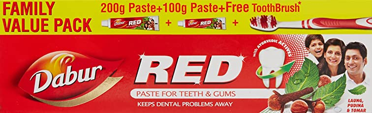 Dabur Red Tooth Paste Value pack, 200g+100g with Free ToothBrush