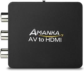 RCA auf HDMI Adapter, AMANKA AV auf HDMI Konverter AV zu HDMI Adapter Unterstützung 1080P für PC/Xbox/PS4/PS3/TV/STB/VHS/VCR/Kamera/DVD