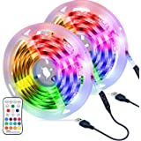 OMERIL Tira LED RGB 6M Impermeable, Tiras LED USB con Control Remoto, 4 Modos de Brillo y 16 Colores, Tira LED Regulable para