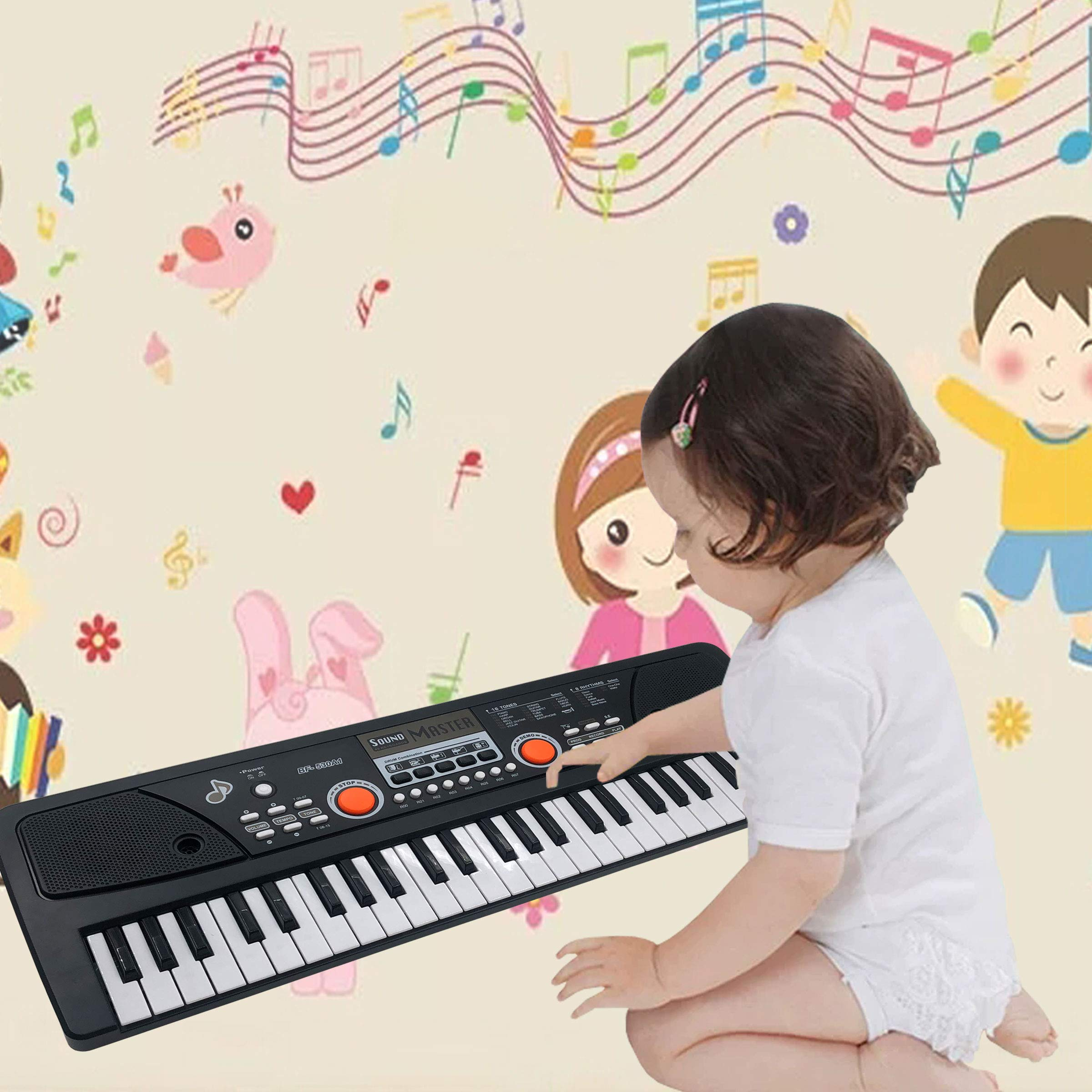 TianYaer Teclado Electrónico Piano 49 Teclas, Teclado de Piano Portátil con Micrófono Teclado portátil Regalo para Niño, Niña Principiantes