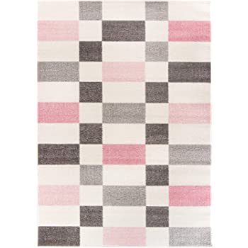 Carpetforyou Schoner Geometrischer Kurzflor Teppich Smoothie Pink