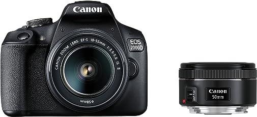 Canon EOS 2000D Spiegelreflexkamera mit dem Objektiv EF-S 18-55 IS II + EF 50 1.8 STM Kit