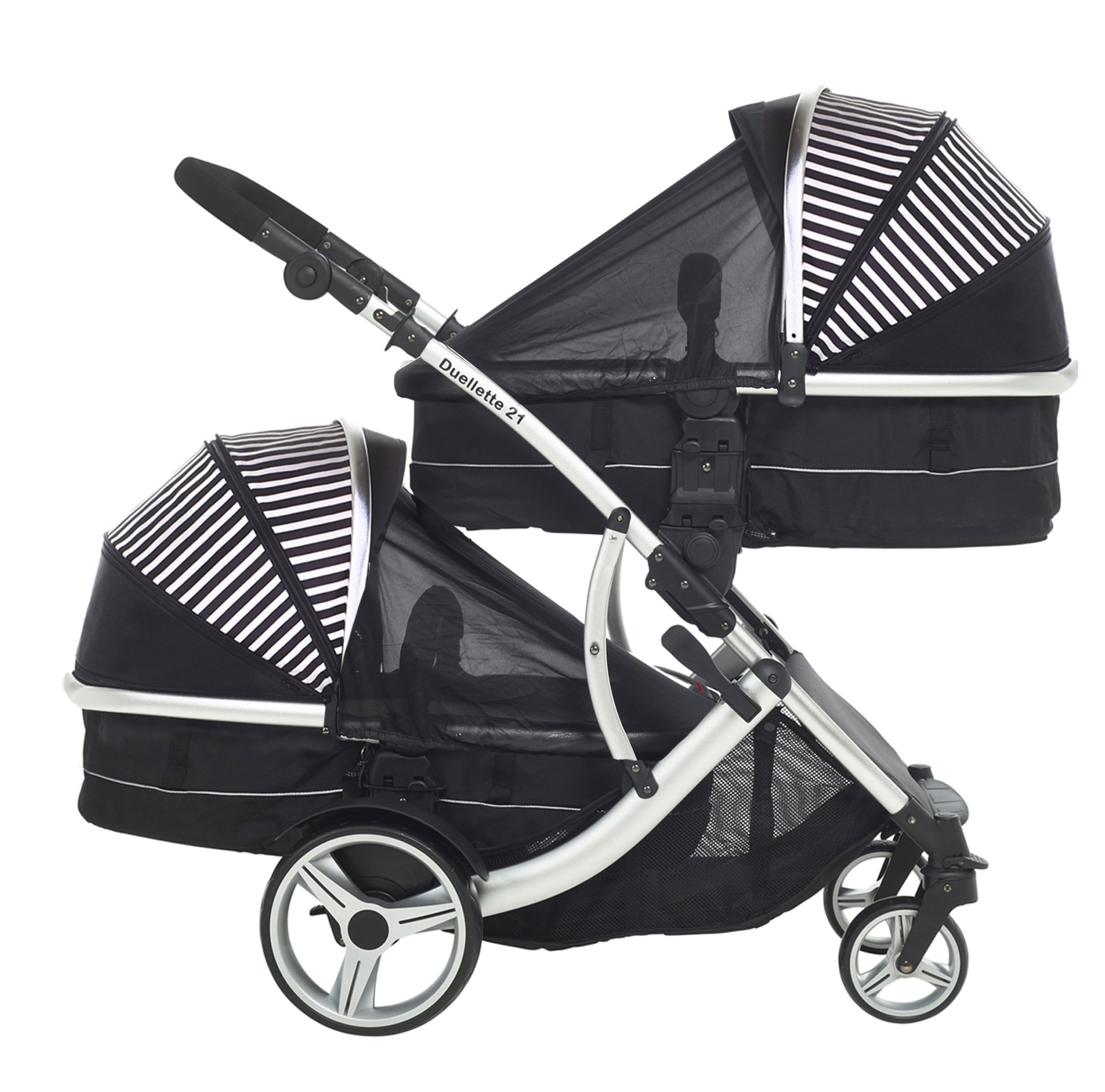 Kids Kargo Duellette Combi Tandem Double Twin pushchair (Oxford Stripe) for Newborn Twins Kids Kargo Fully safety tested Compatible with car seats; Kids Kargo, Britax Baby safe or Maxi Cosi adaptors. Versatile. Suitable for Newborn Twins:  carrycots have mattress and soft lining, which zip off. Remove lining and lid. 3