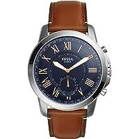 Fossil Herren Hybrid Smartwatch Q Grant - Leder - Analoge Herrenuhr im klassischen Vintage Stil mit Smartfunktionen/Für…