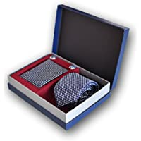 Oxford Collection Cravatta da uomo, Fazzoletto da Taschino e Gemelli Blu a Quadri - 100% seta - Classico, Elegante e…