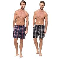 INSIGNIA Mens Poly Cotton Pyjamas Lounge Short Bottoms Check (2 Pack)
