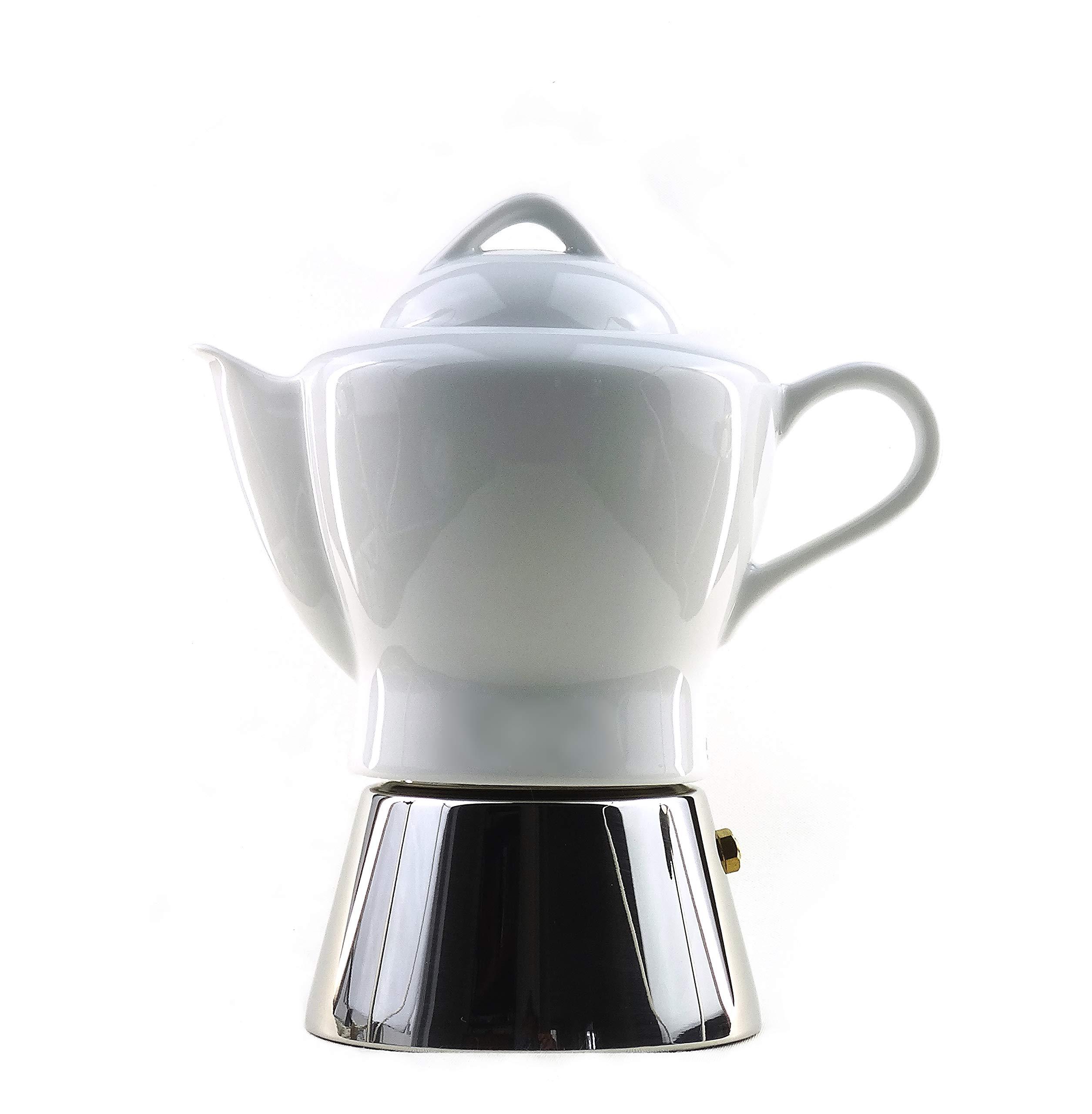 moka consorten italienischer espressokocher nicole aus edelstahl und wei em porzellan 210 ml. Black Bedroom Furniture Sets. Home Design Ideas