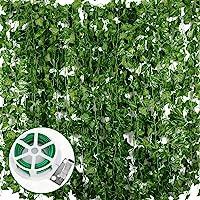 JNCH 24pcs*2m Lierre Plante Artificielle Exterieur Faux Lierre Feuillage Artificiel Feuille Guirlande Décoration…