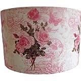 Pink Rose Script Lampshade, floral light shade, old script,postmarks.