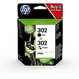 HP 302 X4D37AE, Pack de 2, Cartuchos de Tinta Originales Negro y Tricolor, (Por HP DeskJet 1110/2130/3630, HP ENVY 4520,451X,