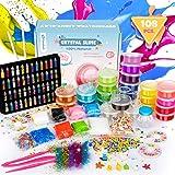 Fansteck 108PCS Slime para Niñas, Manualidades Niños, 24 Colores Purpurinas Fluffy Borax, Kit Manualidades, Slime Kit, Purpur
