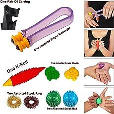 Box On Magic Acupressure Finger Care Massager Sujok Rings Power Balls-Power Thumbs-One Pair Ear Ring Set-39