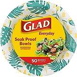 Glad Disposable Paper Bowls with Palm Leaves Design, 16 Oz | Heavy Duty Cut Resistant Microwave Safe Paper Bowls for Hot Soup