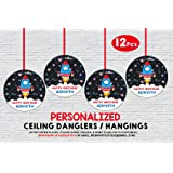WoW Party Studio Personalized Space Theme Ceiling Hangings / Danglers with Birthday Boy/Girl Name (12 Pcs)