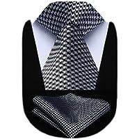 HISDERN Set fazzoletti da uomo e fazzoletti da taschino con cravatta a pois extra lunghi