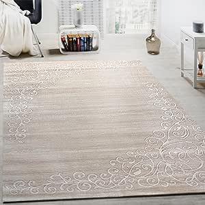 Paco Home Tappeto di Design con Motivo Floreale E Filato Lucido in Crema Bianco mélange, Dimensione:80x300 cm