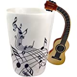 ufengke Musical Notes Design Coffee Mug Tea Cup,Creative Guitar Handle Personalise Ceramic Coffee Cup Milk Cup,For Gift And H
