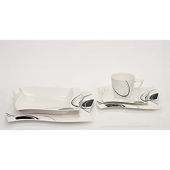kaffeeservice scarlett 36 teilig eckig porzellan f r 12 personen wei mit schwarzem dekor. Black Bedroom Furniture Sets. Home Design Ideas