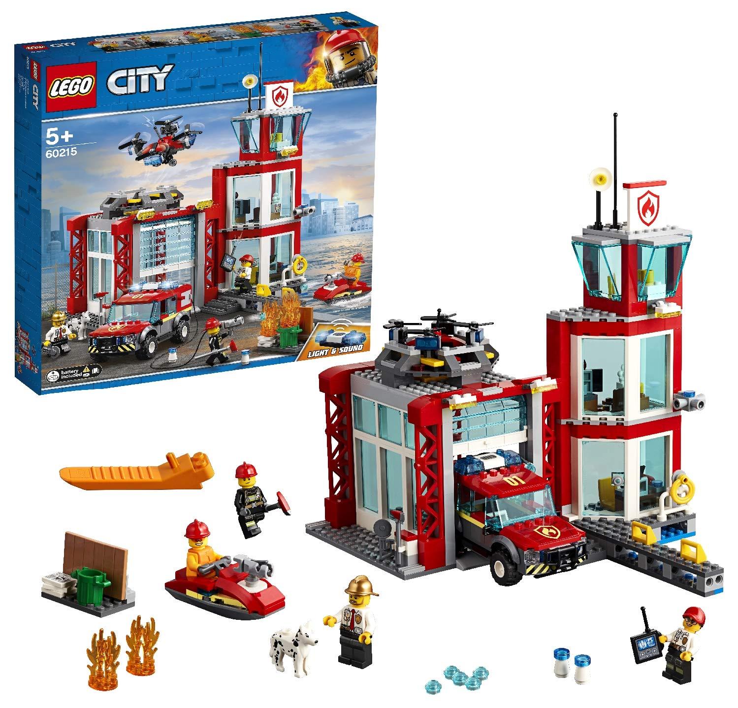 LEGO City Fire – Parque de Bomberos, estación de juguete para construir, incluye camión, moto acuática y dron (60215)