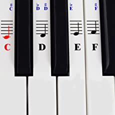 QMG Piano and Keyboard Music Note Stickers with Piano Songs eBook & User Guide ; Learning Piano Labels: Train on your favorite keyboard instrument the easier and faster way!