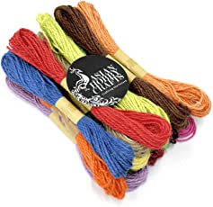 Asian Hobby Crafts Jute Thread Twine Cord,: Set of 12: Multicolor : (Thick: 2mm, Length: 120m (10m Each Color)