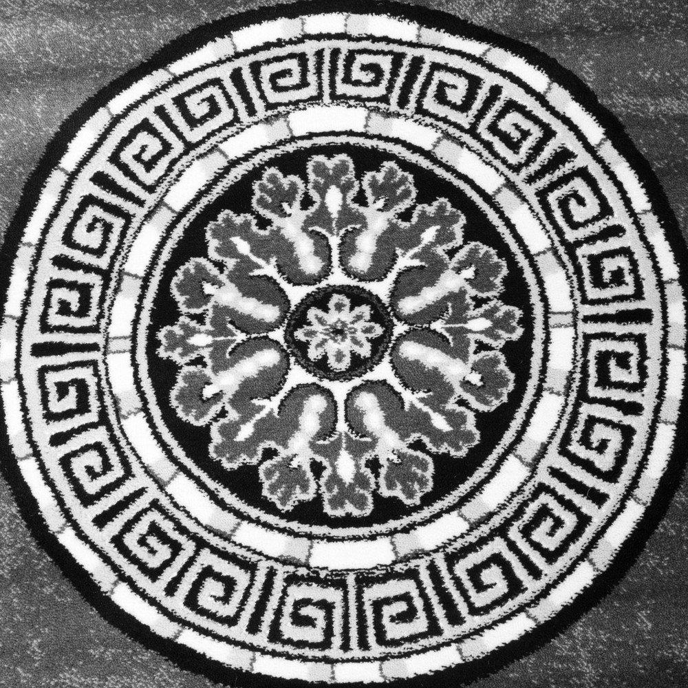 Teppich rund schwarz weiß  Designer Teppich Mit Glitzergarn Klassische Ornamente Bordüre Grau ...