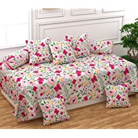 FESTIVAL HOME FURNISHINGS Polycotton 400TC Diwan Set (60X90 Inch Bedsheet 16x16inch Cushion Covers 18x28 inch Bolster Covers) Floral