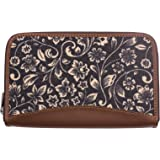 ZOUK Women's Flomotif Print Handmade Vegan Leather Wallets and Jute Purse for Ladies - Clutch with Indian Print - Wallets for