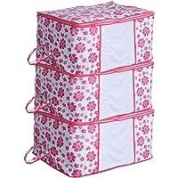 Kuber Industries Floral 3 Piece Non Woven Underbed Storage Organiser Set, Pink