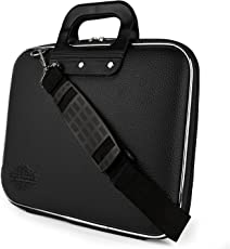 "Style Homez Stylish Unisex Hard Shell Briefcase Black Laptop Bag with Strap for 14"" Laptop"