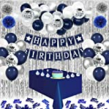 Decorazioni di Compleanno Blu Navy, Palloncini in Argento Bianco Lattice, Palloncini Coriandoli, HAPPY BIRTHDAY Banner, Tovag