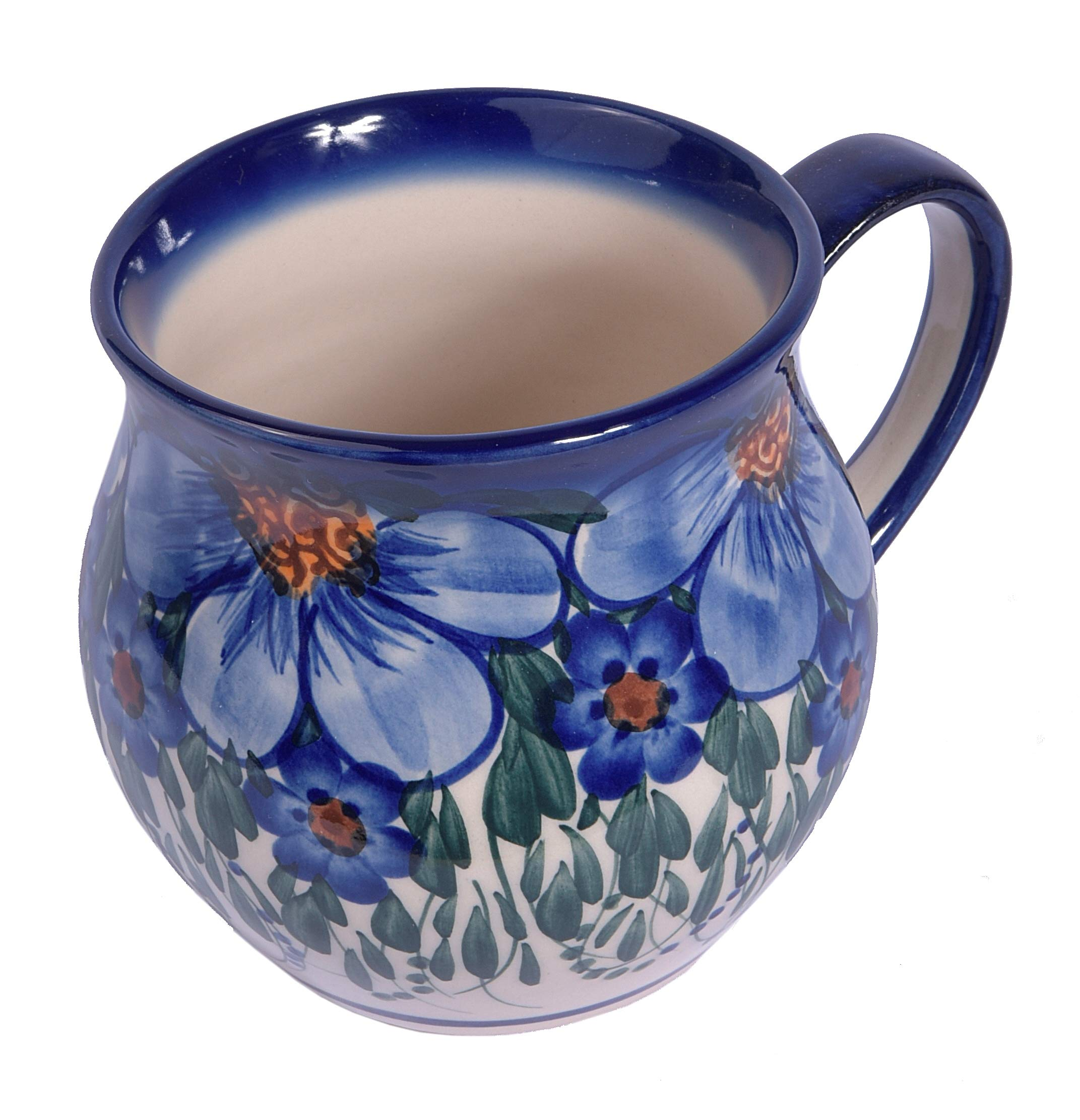 Traditional Polish Pottery, Handcrafted Ceramic Bubble Mug, Boleslawiec Style Pattern, Q.502.CREDO