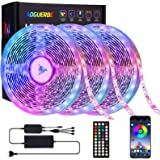 AOGUERBE Striscia LED 15M, Strisce Luminose Luci LED Strip Lights 5050 RGB Musica Cambia Colore Striscia Luminosa 44 Tasti Te